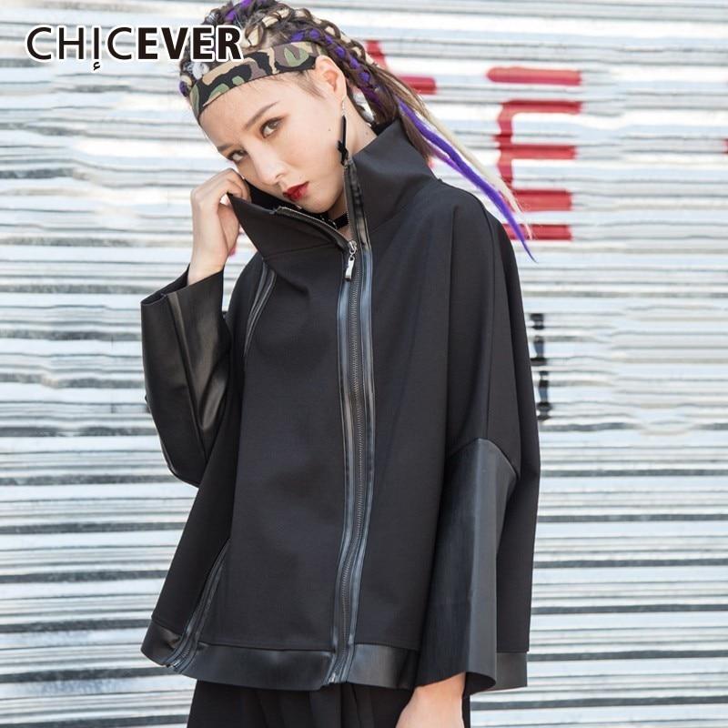CHICEVER Patchwork PU femmes Sweatshirts hauts femme col montant manches chauve-souris Double fermeture éclair lâche sweat mode vêtements