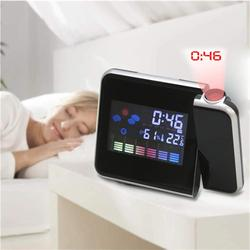 Digital ColorClock with Projection Function LCD Temperature Humidity Meter Alarm Snooze Function Calendar Weather Forecast