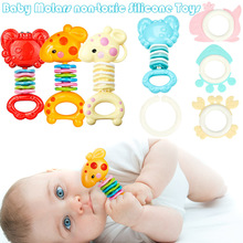 Safety Baby Rattles Teether Toy Gutta Molar Bars Biting Bells Silicone Teething Appease Toys YJS Dropship недорого