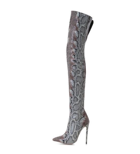 Sur Dame Bout Bottes 42 Mince Femmes Pointu Personnalisé Serpent D'hiver 2018 Nouveau Faire Le Talons Imprimer Cuissardes Hautes Longues Hauts OPqn56wxC