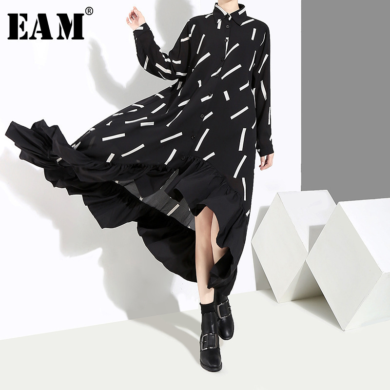 [EAM] 2019 New Spring  Summer Lapel Long Sleeve Black Striped Split Joint Ruffles Hem Loose Dress Women Fashion Tide JI042