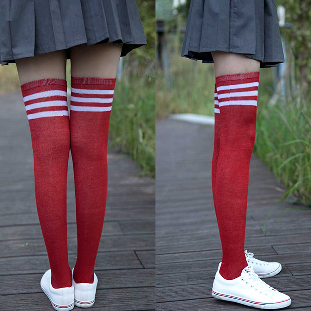 c274a2ec6dc79 ... Long socks women Thick Polyester Stockings with Three Edge Lines  Schoolgirl Wear Knee high Socks Leg ...