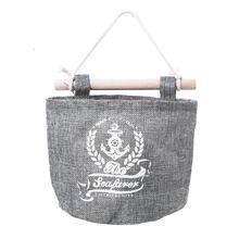 OUNONA diseño vintage ropa de cama de algodón bolsa de almacenamiento para colgar en la pared armario maquillaje artículos organizador decoración del hogar (trigo)