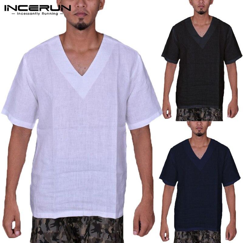 Grandes Manga Fit De Blanco En Camisetas Hombre Cuello Suelto Lisas V 5xl Corta Camisas l3FKJc1T