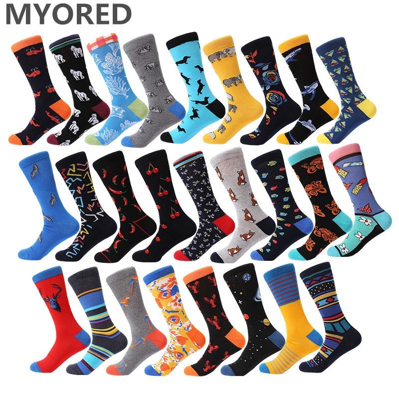MYORED men   socks   spring winter pattern mens novelty colorful long   socks   unisex couple wedding gift   socks   Calcetines de hombre