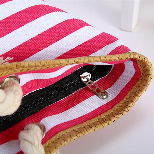 2019 New Beach Tote Bag Fashion Women Canvas Summer Large Capacity Striped Shoulder Bag Tote Handbag Shopping Shoulder Bags 5