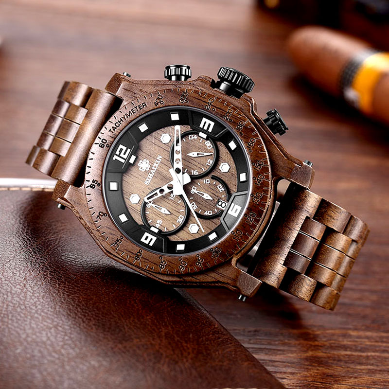 Top Brand relogio masculino Brown Wood Waterproof Stop Watch Mens Date Quartz Watches Montre Male Clock Gift Box Dropshipping