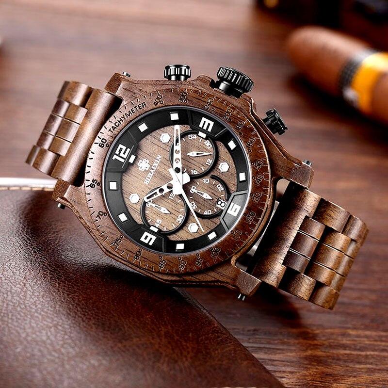 Top Marque relogio masculino Brun Bois Étanche Chronomètre Mens Date Quartz Montres Montre Mâle Horloge Cadeau Boîte Dropshipping