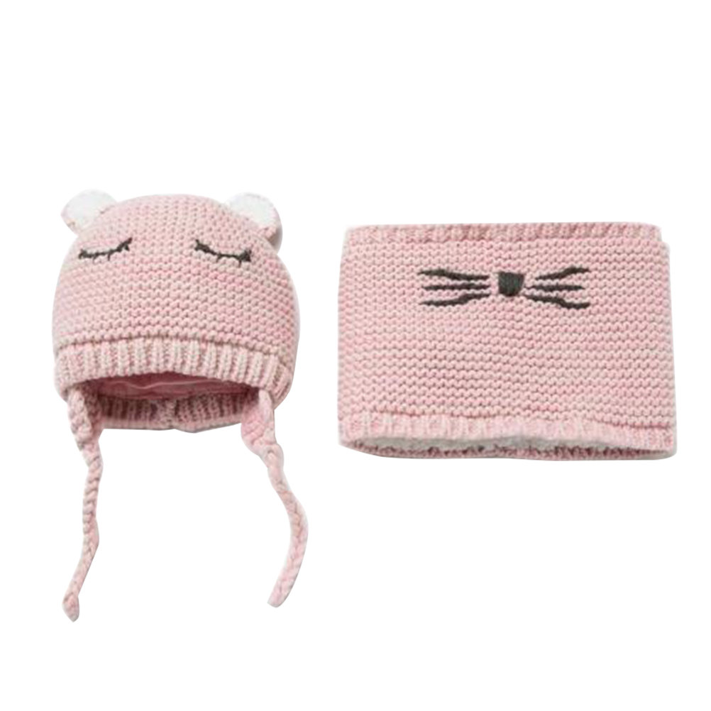 2PCS Baby Sleeping Face Wool Hat Autumn Knitted Warm Portable Winter Cap Bib And Scarf Set For Toddler Children Baby Kids