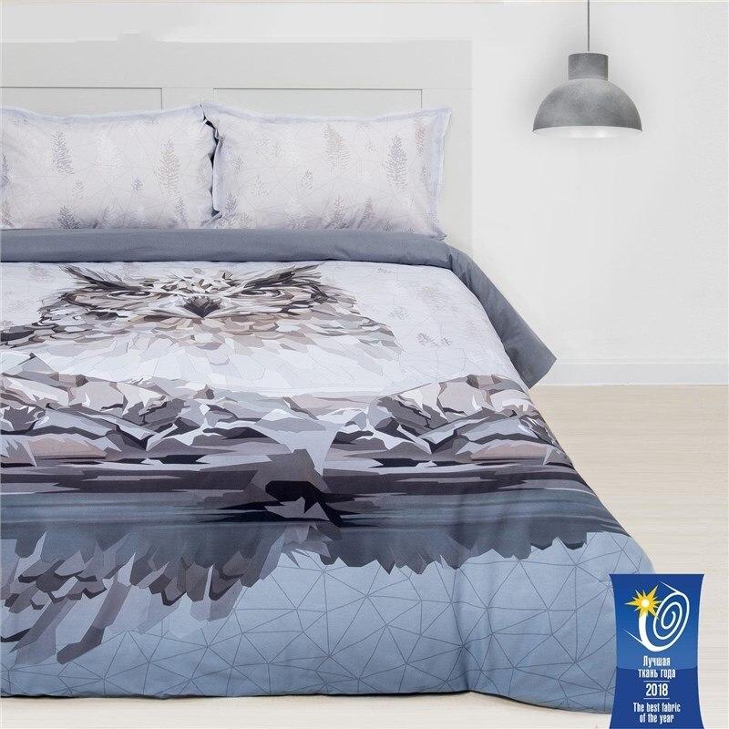 Bed Linen Ethel 1.5 CN Owl 143х215 cm, 150х214 cm, 50х70 + 3-2 pcs, ранфорс 111g/m2 bed linen ethel 1 5 cn imperial 143х215 cm 150х214 cm 50х70 3 2 pcs ранфорс 111g m2