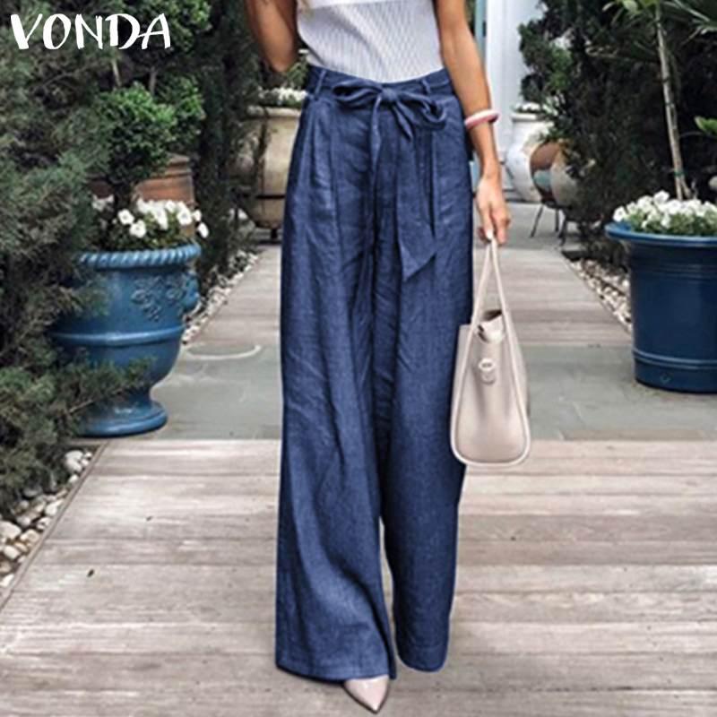 VONDA Summer Pants 2019 Loose Denim Wide Leg Pants Jeans Elastic High Waist Trousers Womens Clothing Casual Bottoms Pantalon 5XL in Pants amp Capris from Women 39 s Clothing