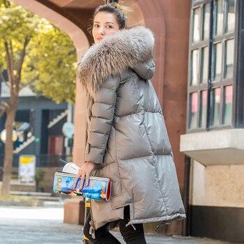 リアルフォックスファーの襟女性の冬のコート 2018 アヒルダウンジャケットストレート Skeepskin 革のオーバーコート女性 Genunie 革生き抜く