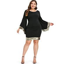 Plus Size Women's Sequins Flare Sleeve Dress