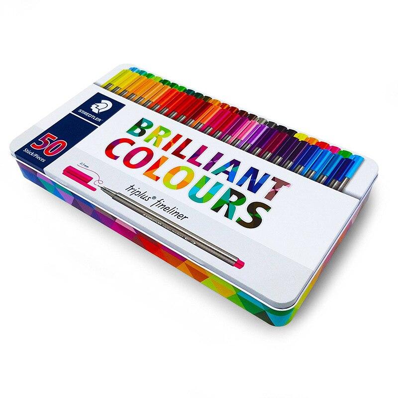 Staedtler Triplus Fineliner 334 M50 0 3mm 50 Brilliant Colours Ink Pen Metal Tin