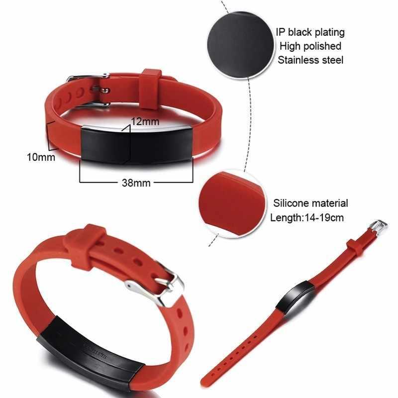 Personalize Waterproof Soft Silicone Sports Medical Alert ID Bracelets for Women Men Bangle Adjustable Watch Band Design