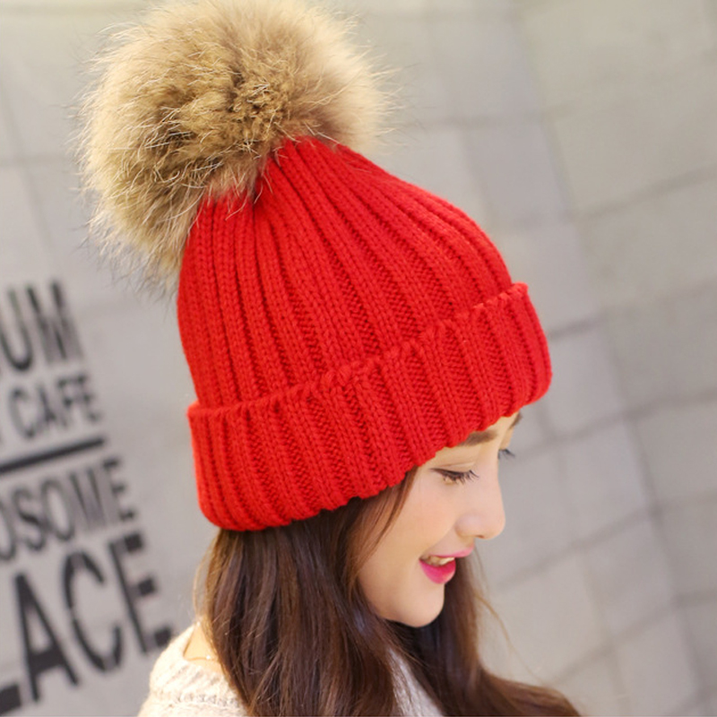 New Fashion Sweet Womens Winter Warm Crochet Knitted Beret Beanie Ball Caps Hats New Red Color