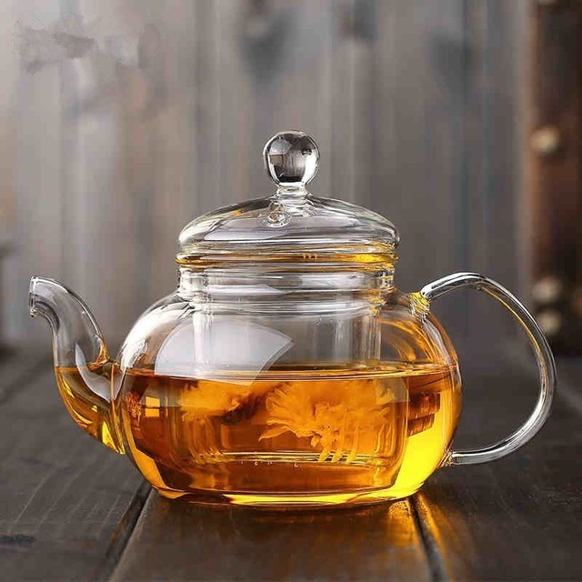 Clear Round Glass Teapot With Filter Borosilicaate Heated Container Samovar Tea Party Heat-resistant Oolong Teaware Drinkware