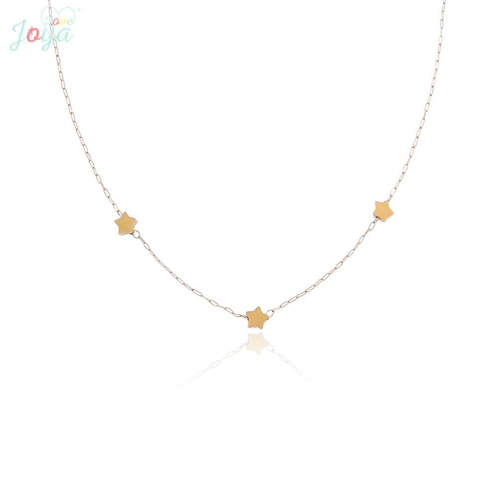 Badu Stainless Steel Chain Necklace Women Fashion Jewelry Golden Star Pendant Short Necklaces Wedding Engagement Gift