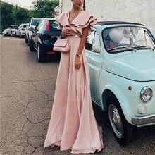 цена Women Summer Bohemian Beach Long Dress Elegant High Waist Party Floor-Length Dress Casual Ruffle Short Sleeves A Line Maxi Dress