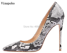 白灰色のヘビプリントデザインの女性セクシーな極端なハイヒールパンプス Vinapobo センチメートル小剣を指摘つま先パーティー結婚式の靴 12/10/8