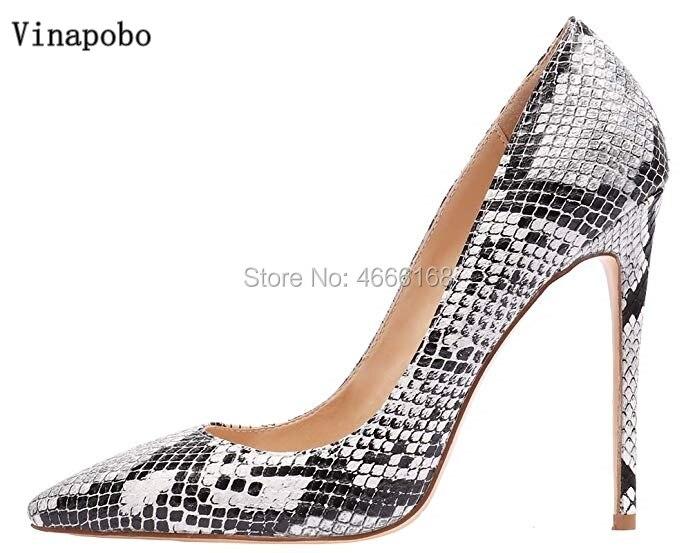 Vinapobo สีขาวสีเทางูพิมพ์ผู้หญิงส้นสูงรองเท้าส้นสูงปั๊ม 12/10/8 cm Stiletto toe Party รองเท้าแต่งงาน-ใน รองเท้าส้นสูงสตรี จาก รองเท้า บน AliExpress - 11.11_สิบเอ็ด สิบเอ็ดวันคนโสด 1