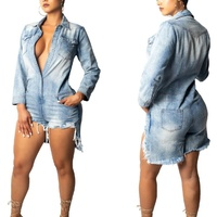 Women's Fashion Sexy Jeans Women Slim Casual Skinny Night Club Jumpsuit Blue Denim One piece Rompers for Women Party Gift S 2XL