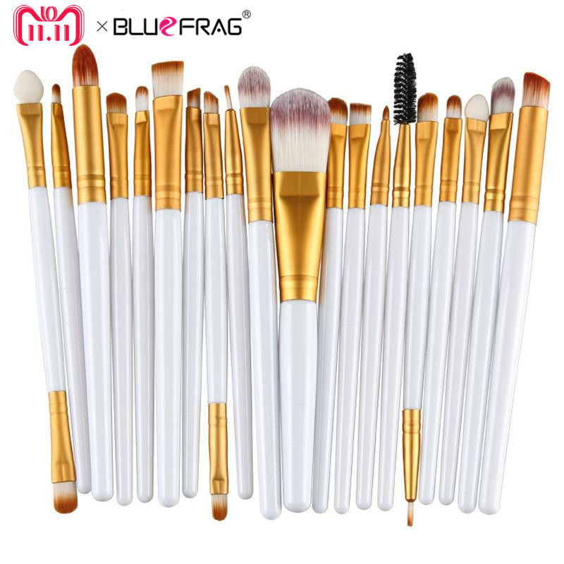 20ks Oční make-up Kartáče Set Oční stín Blending Brush Powder Foundation Oční stíny Eyebrow Lip Eyeliner Brush Cosmetic Tool