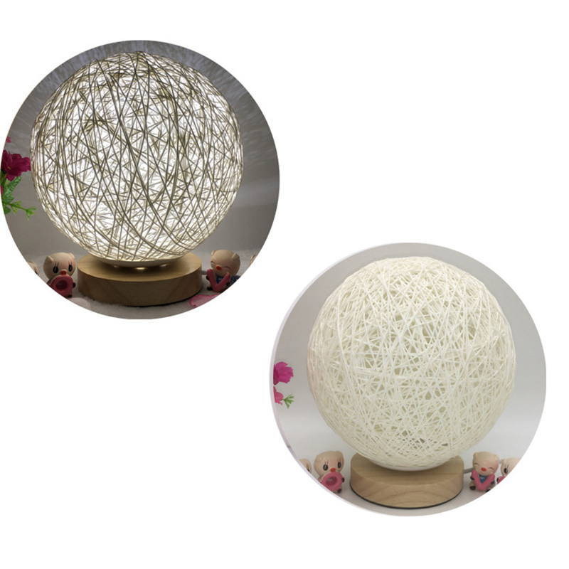 Creative Bedroom Table Lamp Bedroom Modern Wood Twine ...