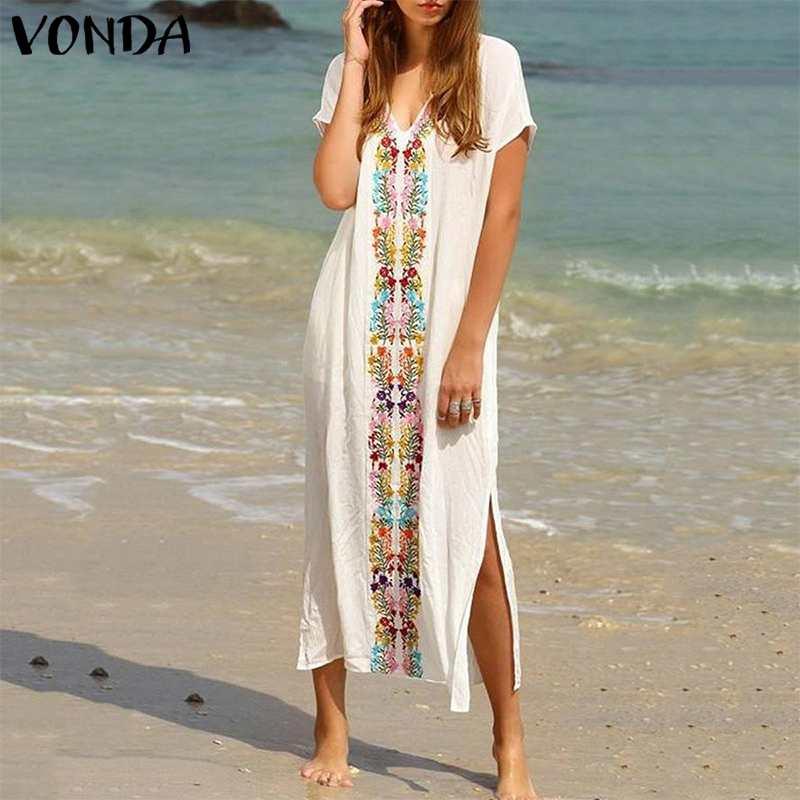 VONDA женское платье в богемном стиле с цветочным рисунком 2019 летнее сексуальное с v-образным вырезом нашивка Короткие рукава белые длинные пл...