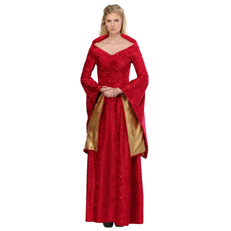 High-quality Adult Historical Themed Noble Lion Queen Women's Halloween Cosplay Costume Bright Red Fancy Dress