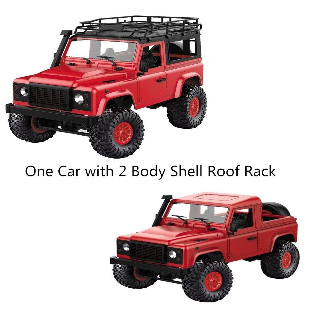 1/12 échelle 2.4G 4 canaux RC voiture jouet modèle LED avant voiture lumière avec 2 corps coquille toit Rack enfants télécommande voiture cadeau nouveau