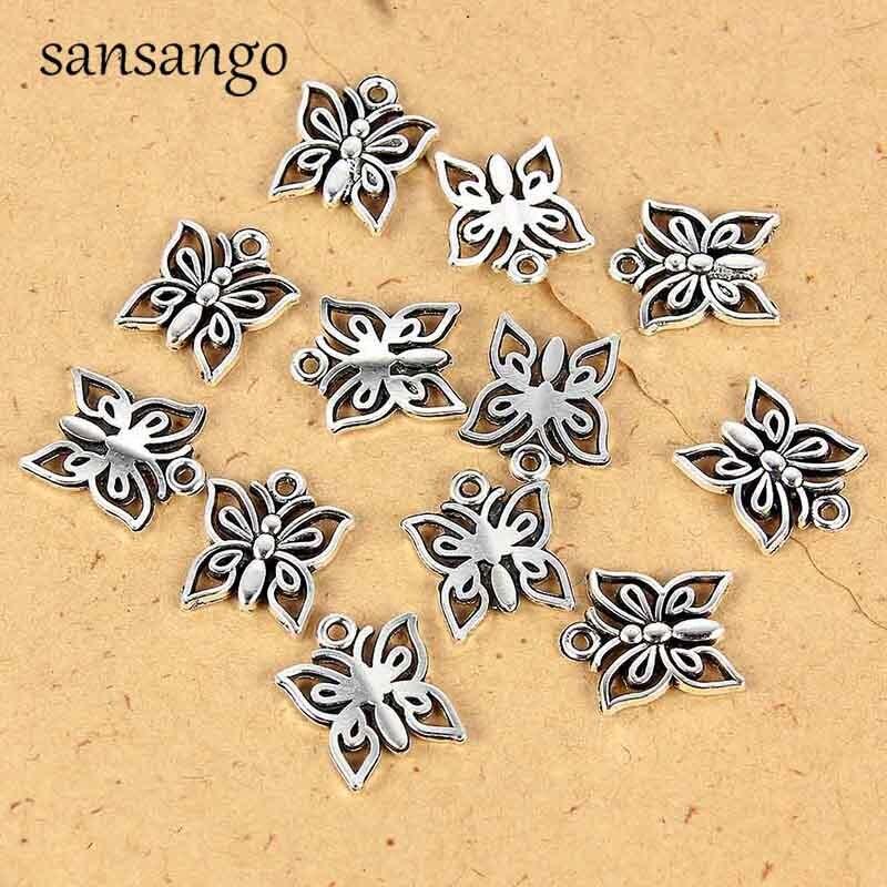 Sansango 30 шт. очаровательные браслеты бабочки из 14x12 мм антикварные подвески из Серебра Талисманы изготовления ювелирных изделий DIY аксессуары...