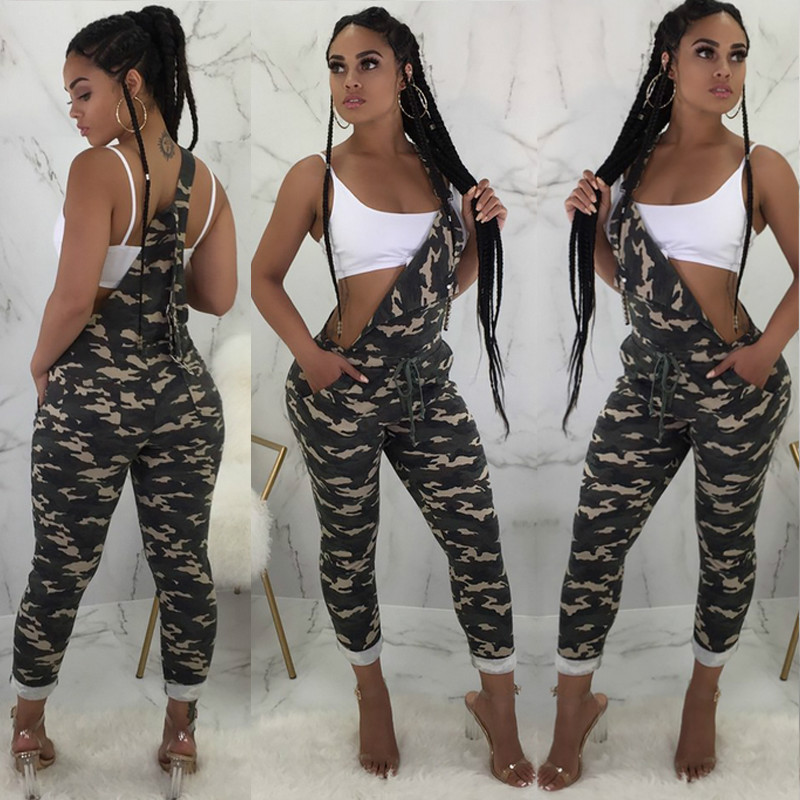 Camouflage Casual Overalls for Women Elegant Cargo   Pants   High Waist Trousers Loose Strap Bib   Pants     Capris   Pockets