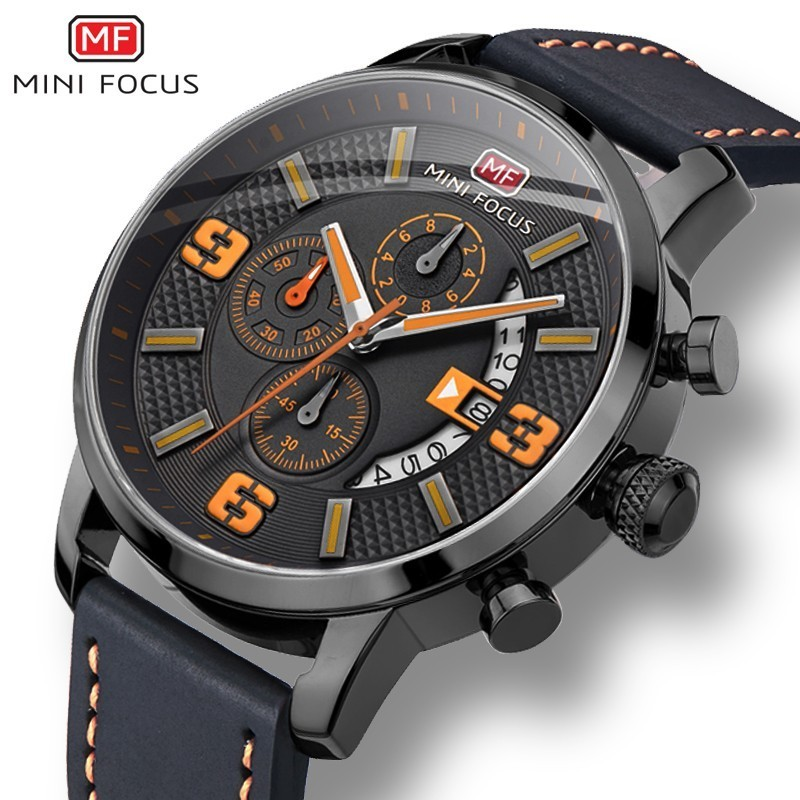 MINI FOCUS Sports Watch For Men Luxury Casual Chronograph Watches Quartz Mens Genuine Leather Top Brand Military