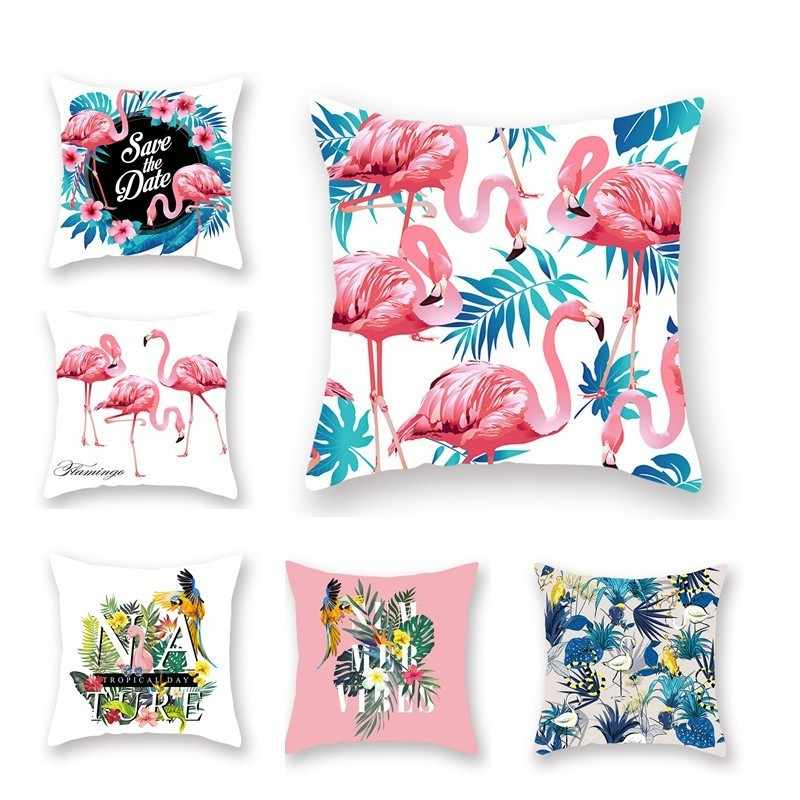 Summer Flamingo Cushion Covers Flower Leaf Pillow Case For Bedding Sofa Chair Couch Decorative Back Side White 1 Piece 45*45cm