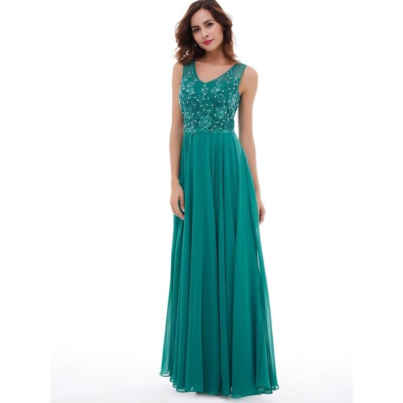 Dressv Long Scoop Evening Dresses Hunter Sleeveless Beaded Lace A Line Floor Length Gown Cheap Women Party Prom Evening Dress