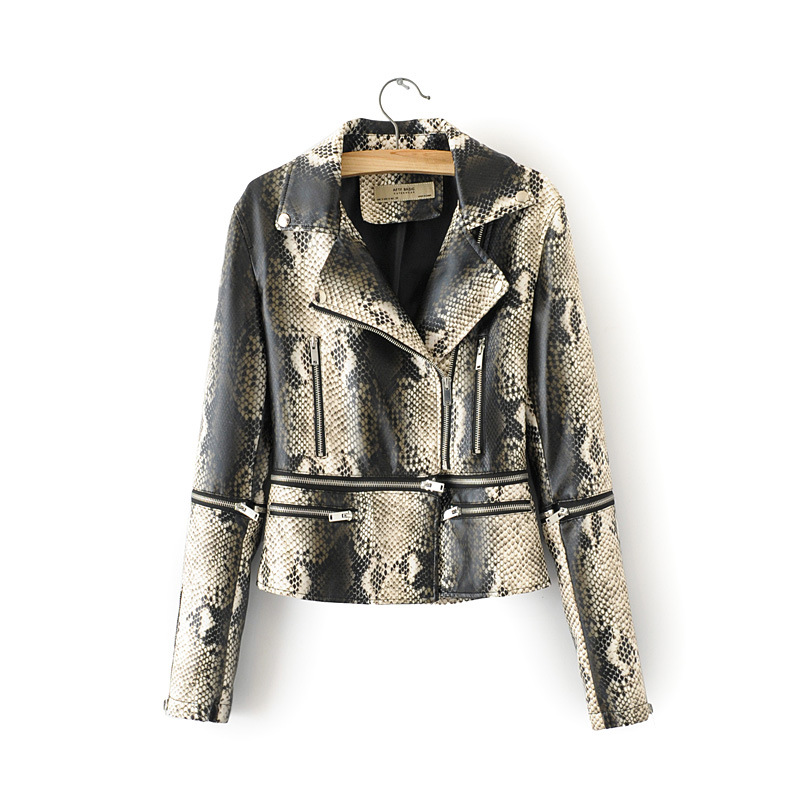 2019 Snake New Short Faux Soft   Leather   Jacket Women Fashion Zipper Motorcycle PU   Leather   Jacket Ladies Basic Street Coat