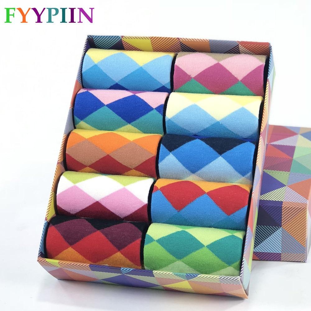 Skarpety męskie Standardowe bawełniane na co dzień Wysokiej jakości wzór w romby Skarpety męskie, kolorowe ubrania Happy Socks Men
