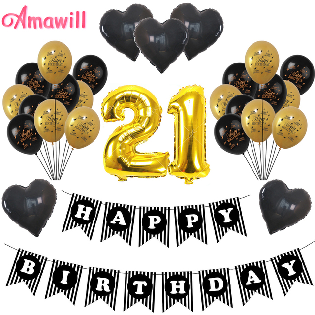 Amawill 21 Years Old Party Supplies And Gifts Black Banner Heart Number Balloons For 21st Birthday Decorations Adult 8D