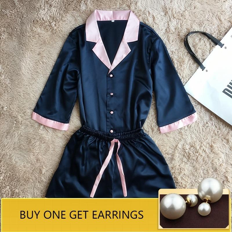 QWEEK Women   Pajamas     Sets   Sexy Pyjama Satin Sleepwear Home Suit Pijama Silk Indoor Casual Half Sleeve Home Clothing Nightwear