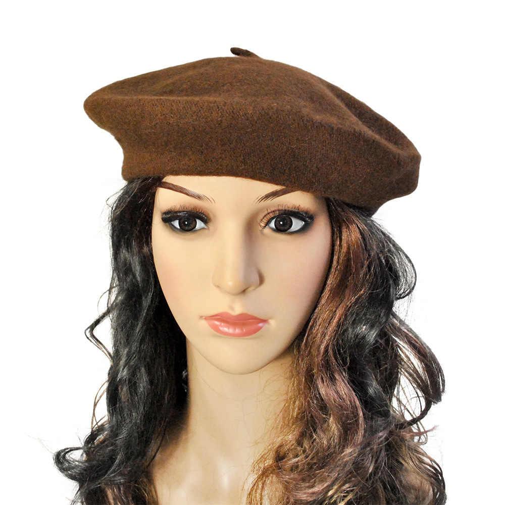 Шерстяной берет шляпа французский берет шерсть сплошной цвет женская вязаная шапочка