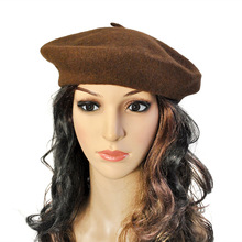 Wool Beret Hat French Solid Color Women Beanie Cap