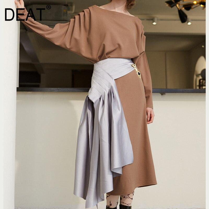 DEAT 2019 new spring and summer fashion women skirt high waist asymmetrical sexy half part bottoms