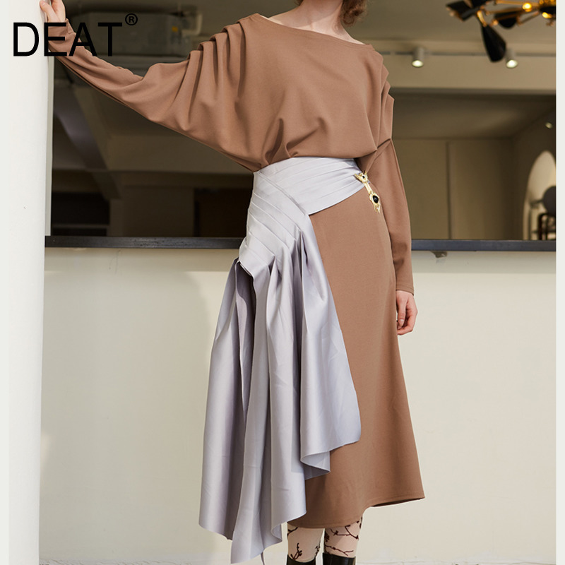 DEAT 2019 New Spring And Summer Fashion Women Skirt High Waist Asymmetrical Sexy Half Part Bottoms Outfits WE88602L
