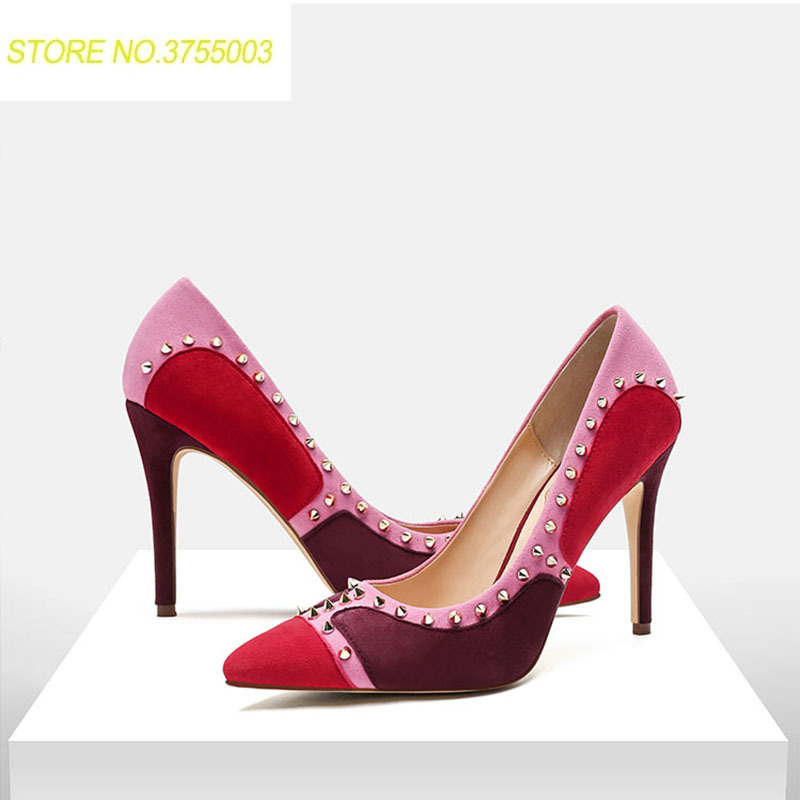 Summer Women Rivet Pointed Toe Pumps Wine Red Shoes Multi Colored Lady Celebrity Party Weeding Sandals High Heels Famous Scarpin