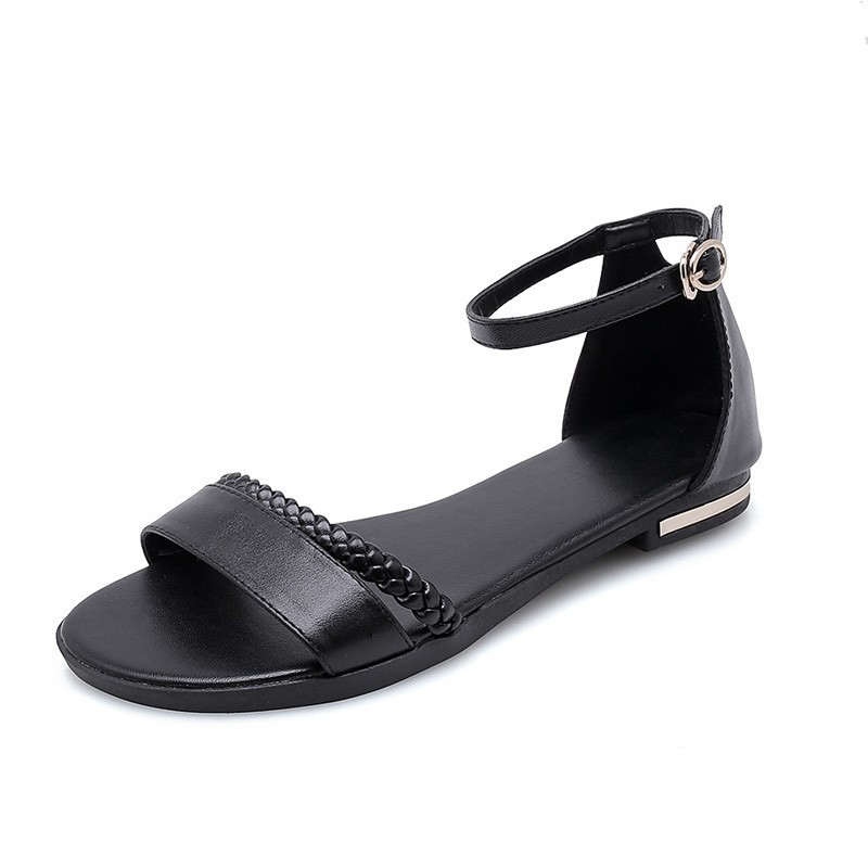 Image 2 - YOUGOLUN Women Flat Sandals New Arrived Ladies Summer Casual Shoes Sexy Woman White Black Beige Ankle Buckle Strap Sandal A032-in Women's Sandals from Shoes