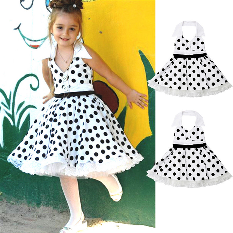 Party Dress Backless Polka-Dot Ruffle Girl Vintage High-Waist Kids Summer Sleeveless title=