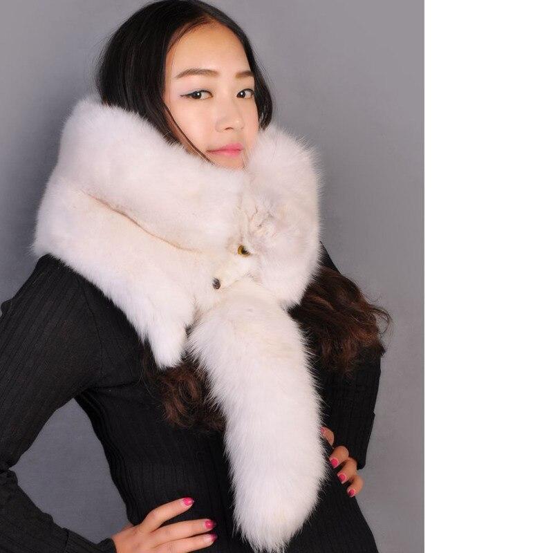 2018 mode populaire femmes naturel une pièce fourrure de renard étole Wrap col écharpe moelleux naturel blanc hiver châle étole écharpes