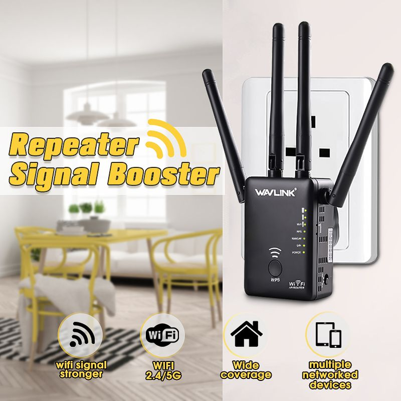 Wavlink UK/EU/US/AU Plug AC1200 Dual For Band 1200Mbps 4x3dBi External Antenna Wireless WIFI Repeater