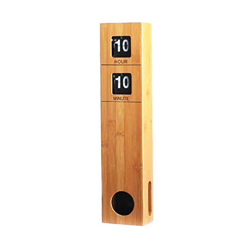 Horloge murale automatique à piles 19 pouces de hauteur avec boîtier en bois de bambou décoration rétro moderne